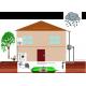 Schéma d'équipement d'une maison avec une citerne souple pour récupération l'eau de pluie