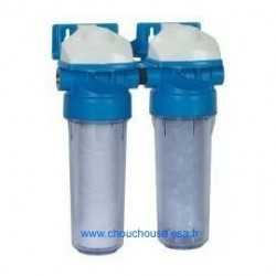 """Porte filtres 9""""3/4 anti-boue et filtre polyphosphates anti-calcaire"""