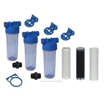Filtration 3 filtres pour eau de forage eau de puits eau de source