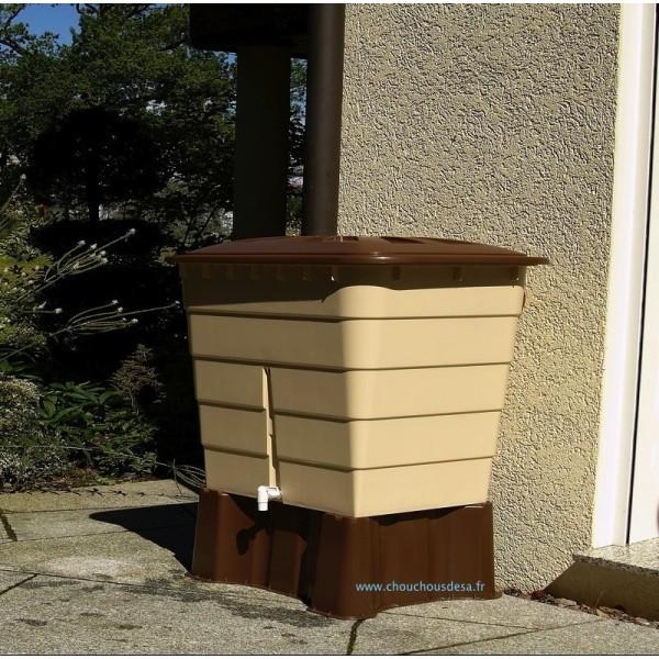 Cuve rectangulaire 520 l garantia avec collecteur de goutti re et robinet c - Collecteur eau de pluie gouttiere rectangulaire ...