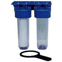 """Jeu de 2 portes filtres 9""""3/4 pour filtration de l'eau avec cartouches filtrantes"""