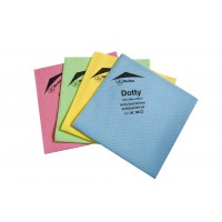 Les 4 lavettes microfibre antibactériennes Dotty pour entretien des surfaces